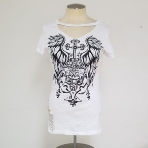 Vocal cut out embellished tee